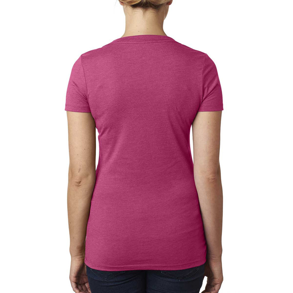 Next Level Women's Raspberry CVC Deep V Tee