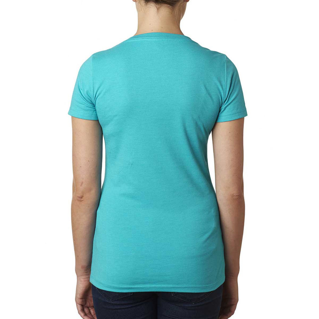 Next Level Women's Tahiti Blue CVC Deep V Tee