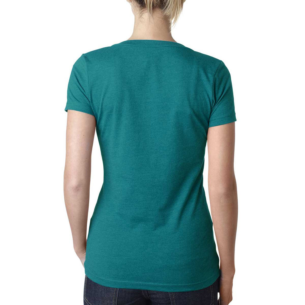 Next Level Women's Teal CVC Deep V Tee