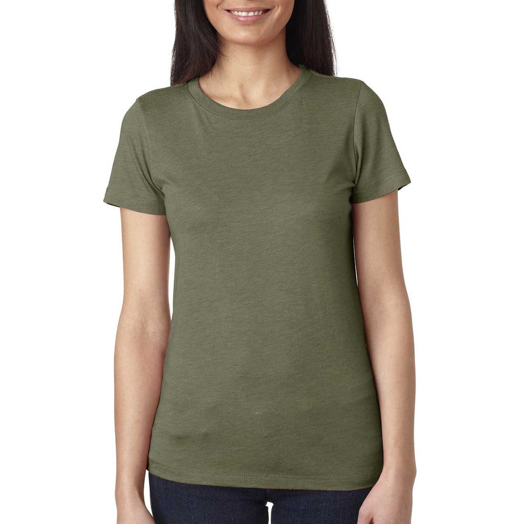 Next Level Women's Military Green Triblend Crew