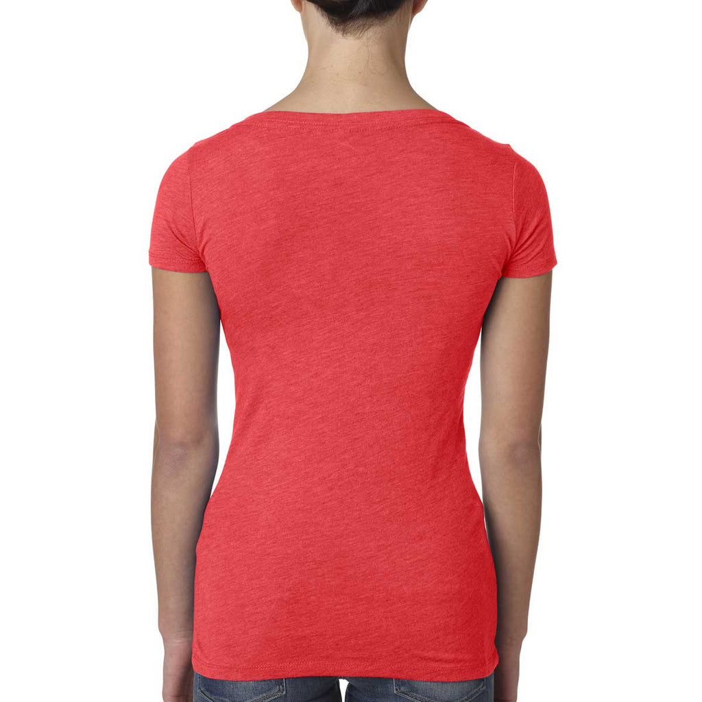 Next Level Women Vintage Red Triblend Scoop Tee