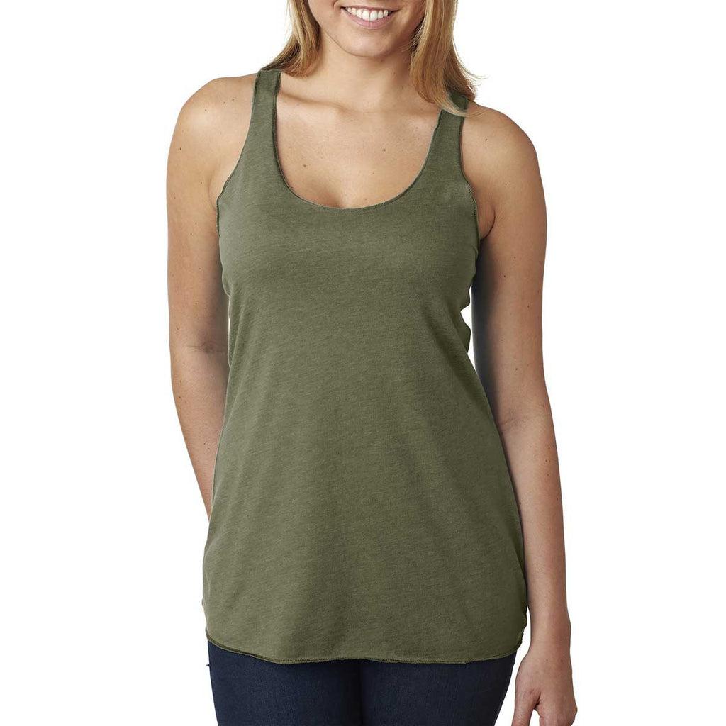 Next Level Women's Military Green Triblend Racerback Tank