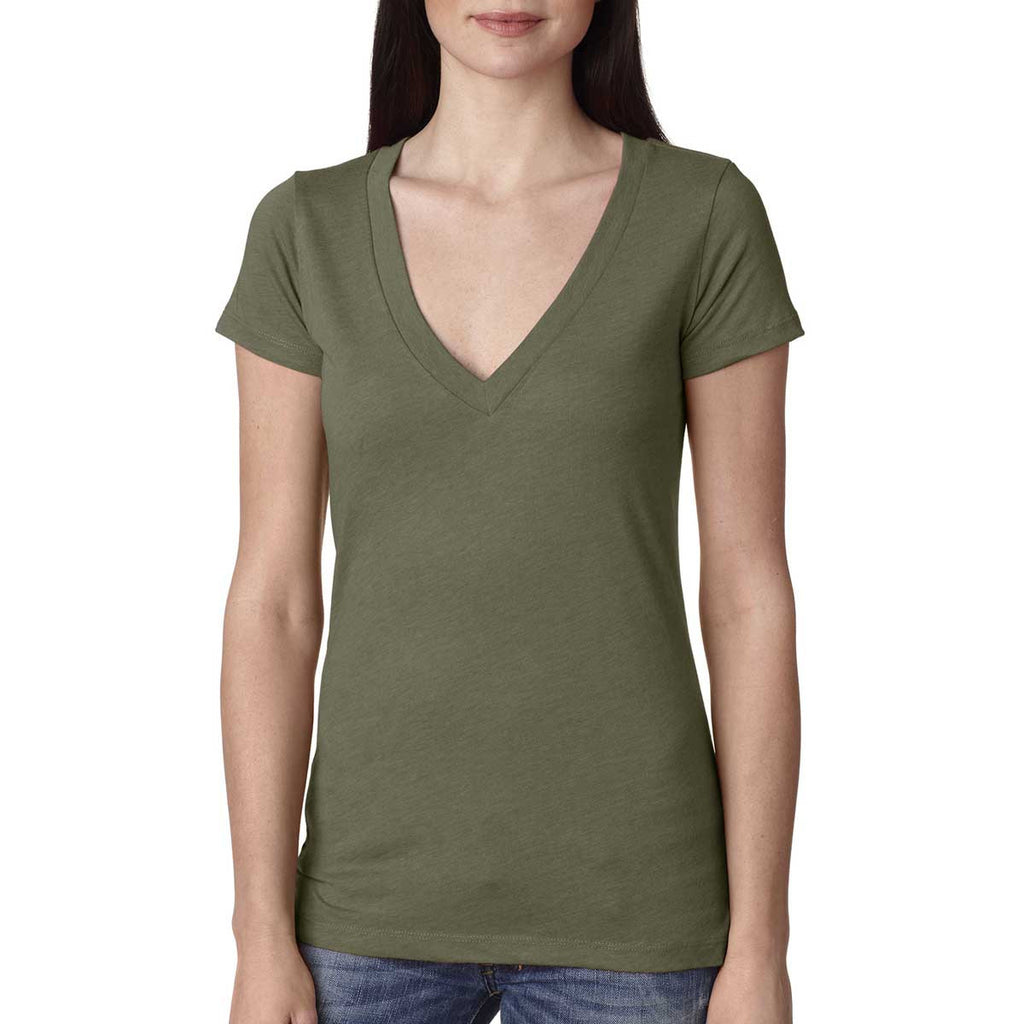 Next Level Women's Military Green Triblend Deep-V Tee