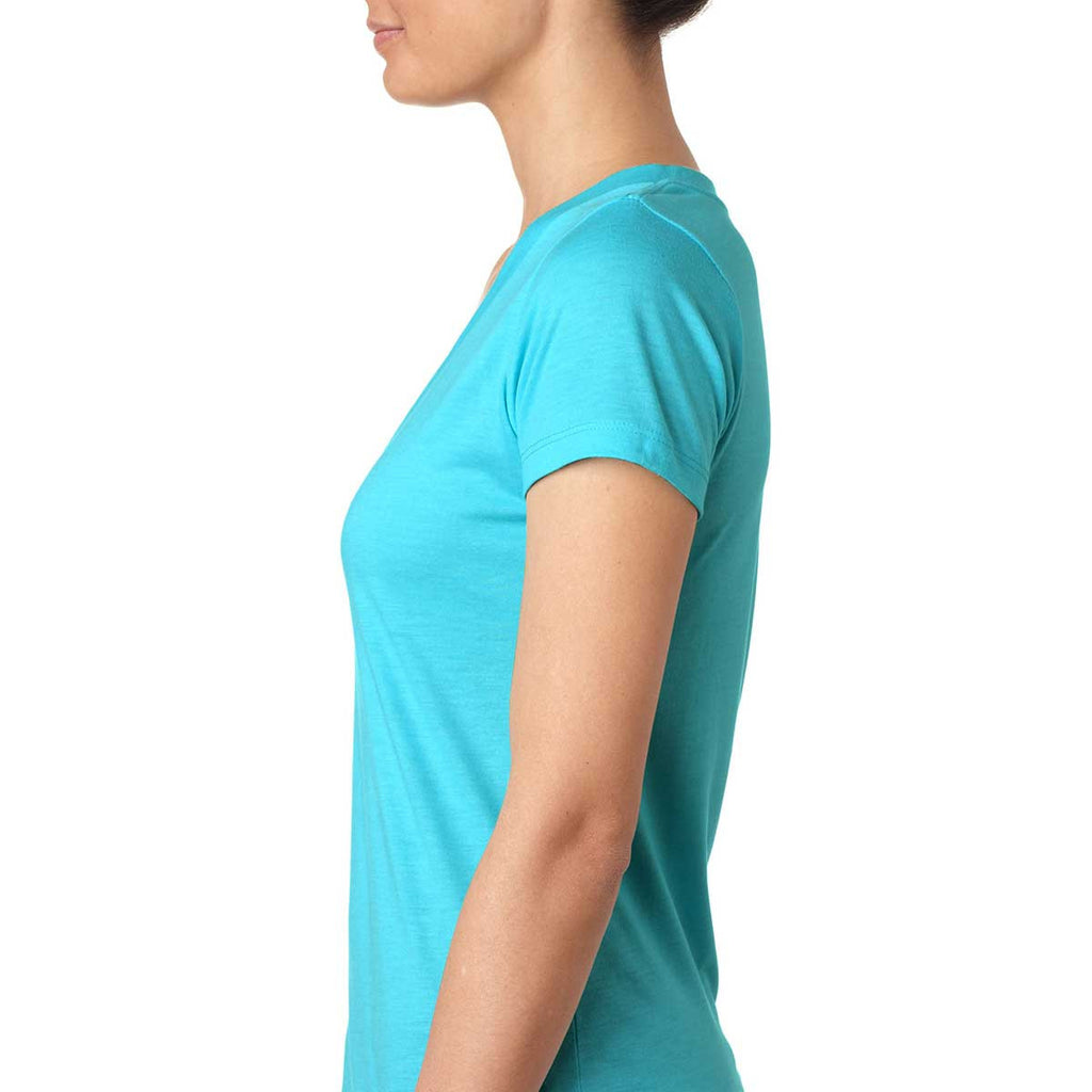Next Level Women's Tahiti Blue Triblend Deep-V Tee