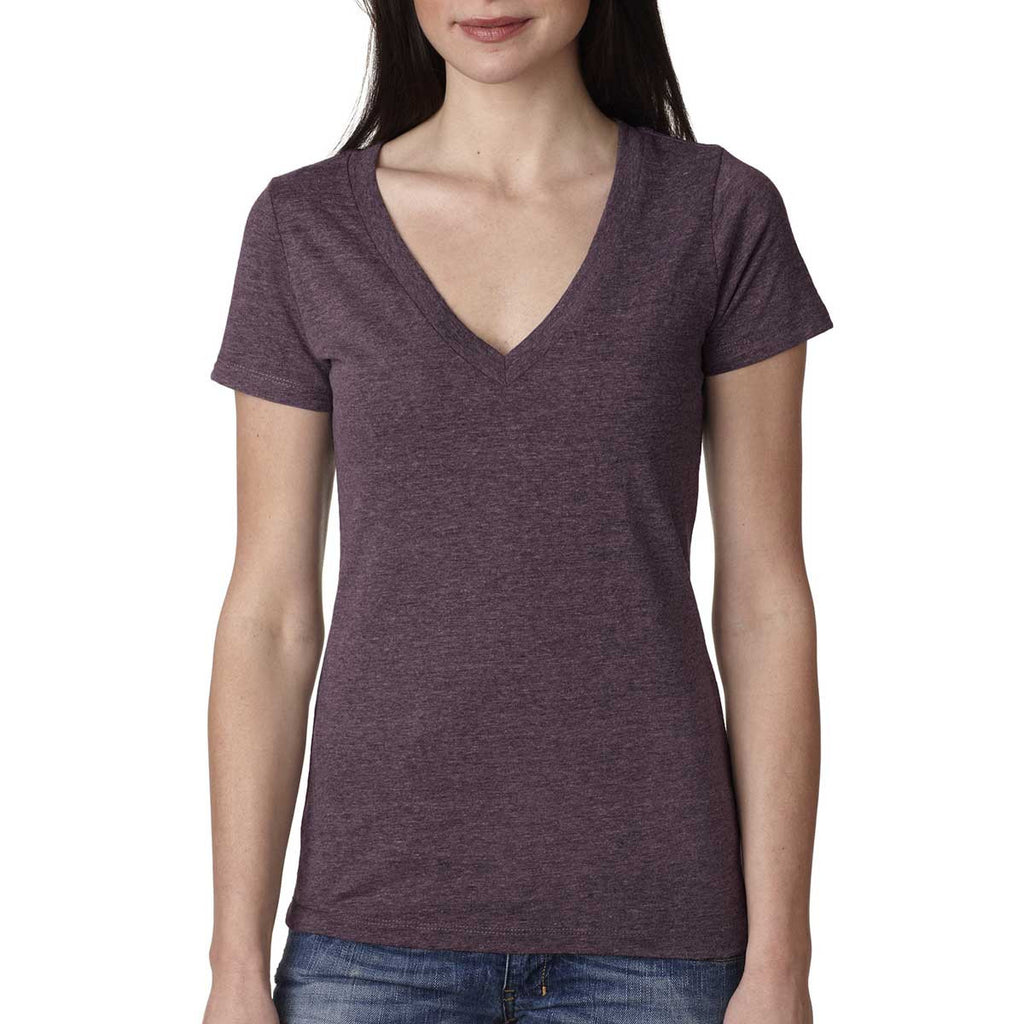 Next Level Women's Vintage Purple Triblend Deep-V Tee