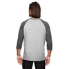 Anvil Men's Heather Grey/Heather Dark Grey Triblend 3/4-Sleeve Raglan T-Shirt
