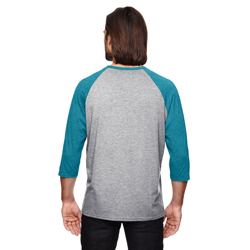 Anvil Men's Heather Grey/Heather Galop Blue Triblend 3/4-Sleeve Raglan T-Shirt