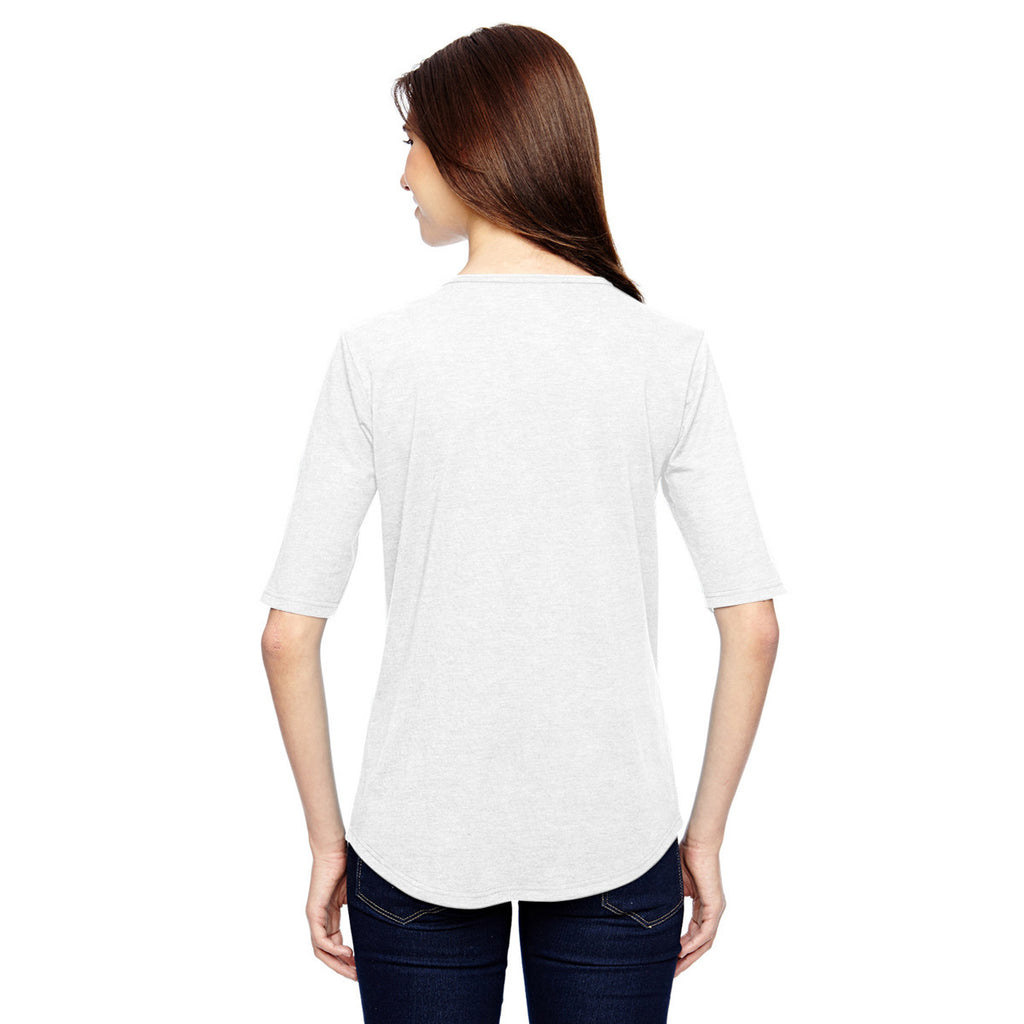 Anvil Women's White Triblend Deep Scoop Half-Sleeve T-Shirt