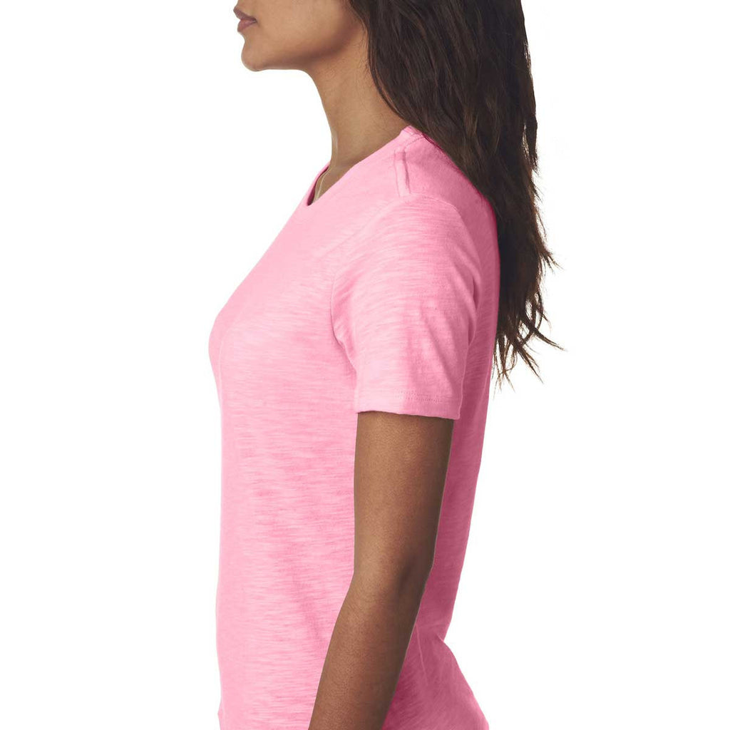 Next Level Women's Hot Pink Slub Crew Tee
