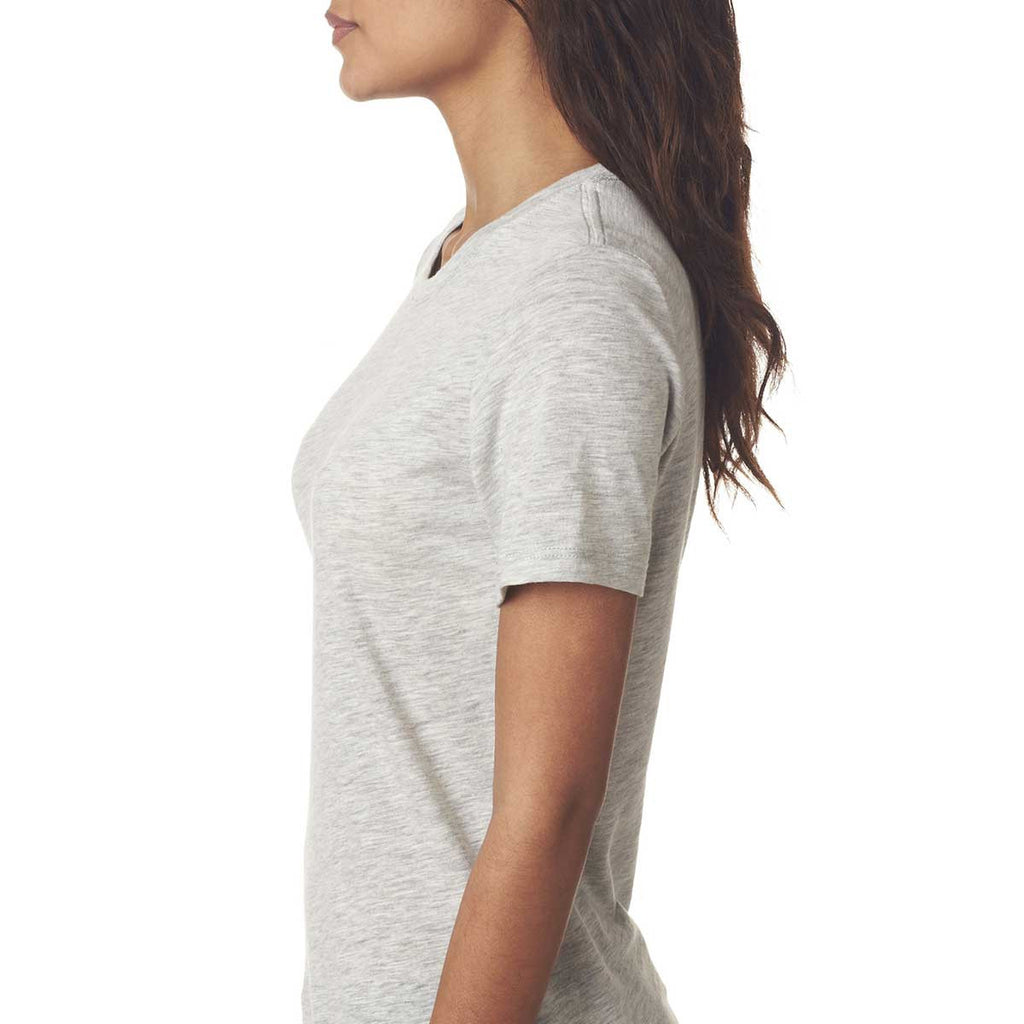 Next Level Women's Light Heather Gray Slub Crew Tee
