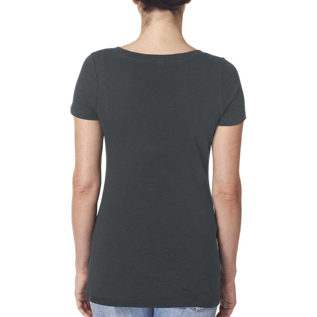 Next Level Women's Dark Gray Slub Crossover V-Neck Tee