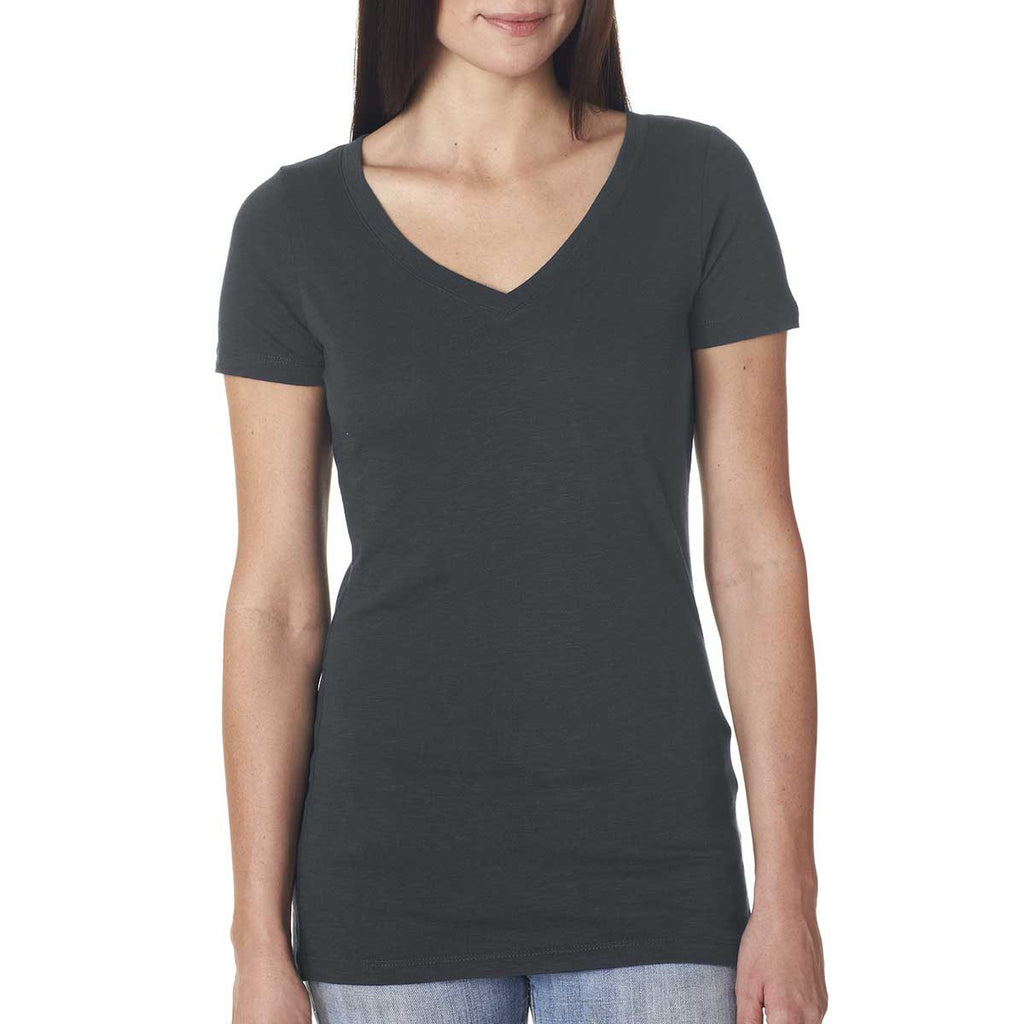 Next Level Women's Dark Grey Slub Crossover V-Neck Tee