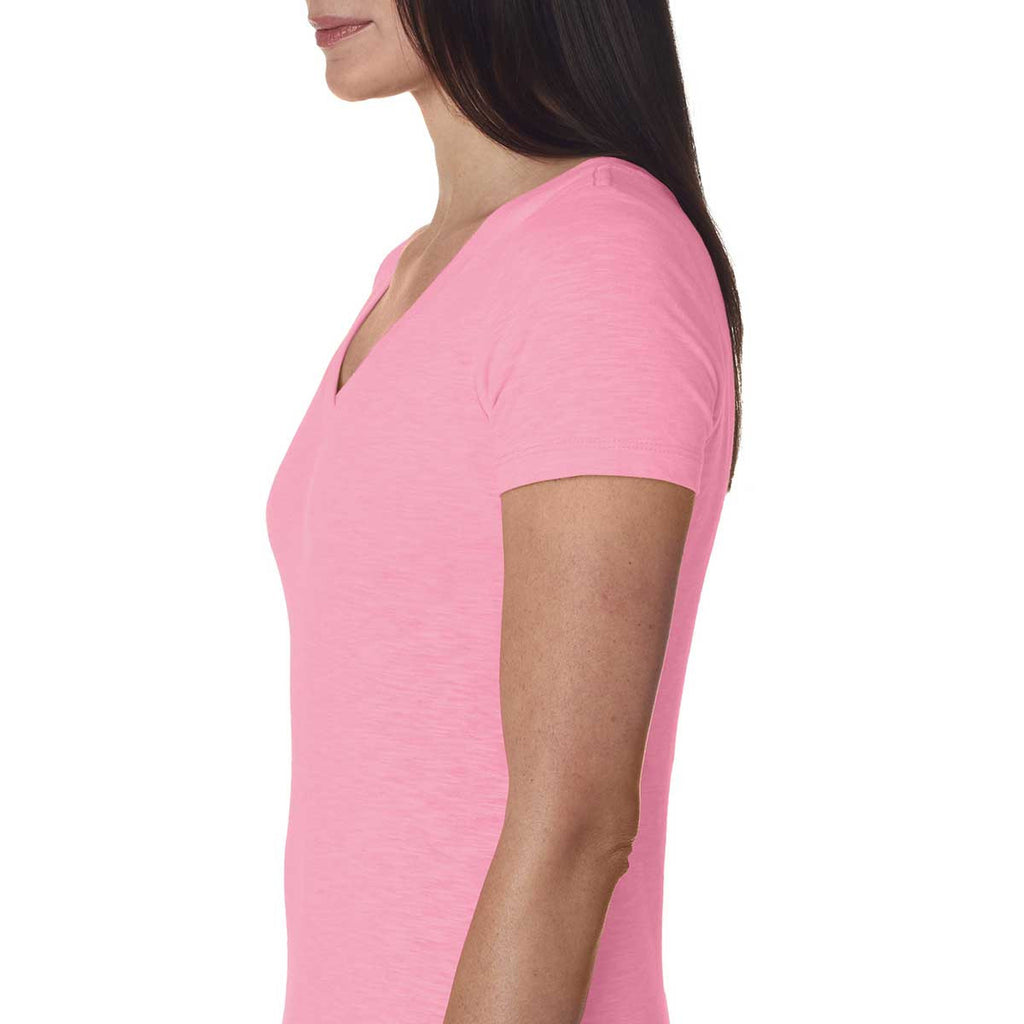 Next Level Women's Hot Pink Slub Crossover V-Neck Tee