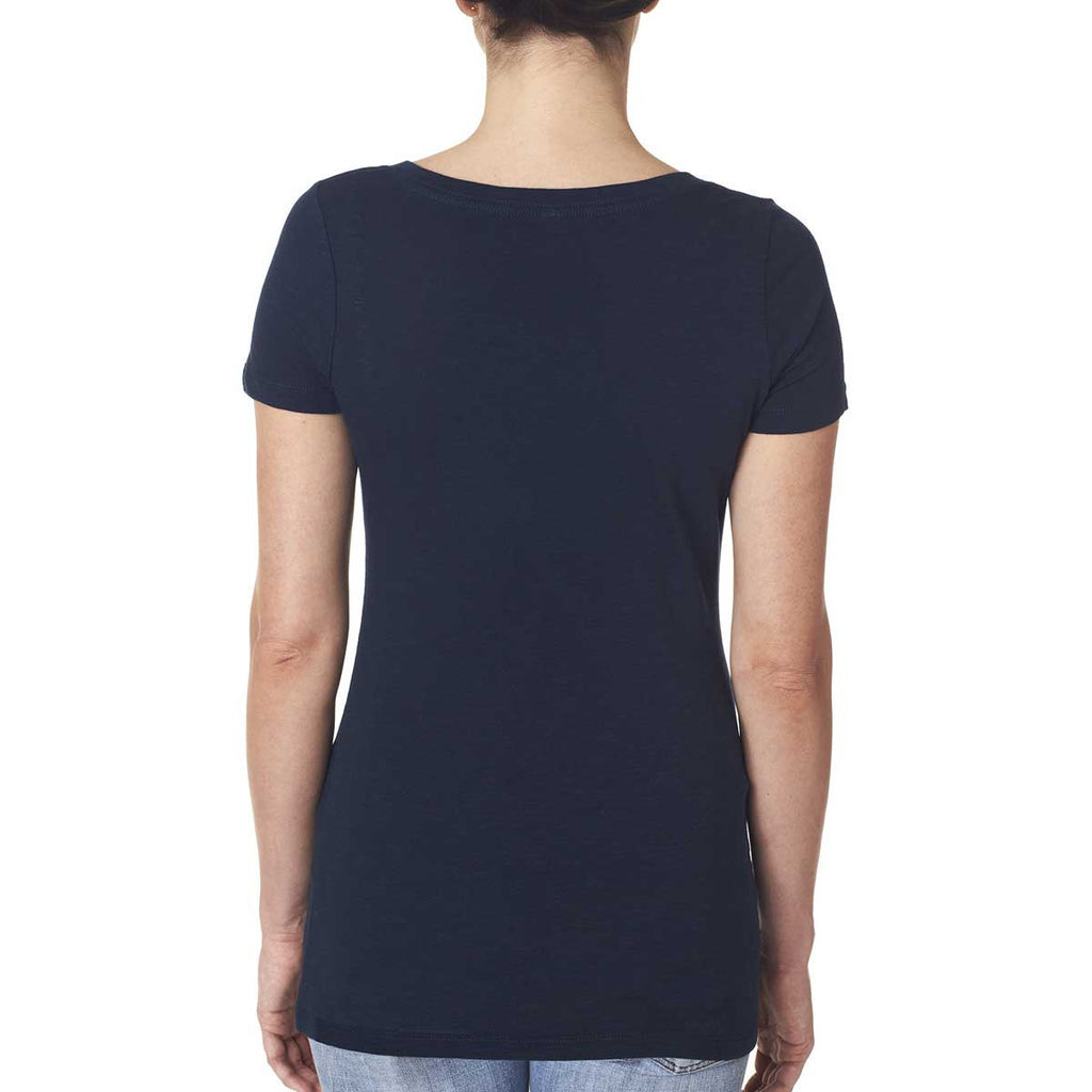 Next Level Women's Midnight Navy Slub Crossover V-Neck Tee