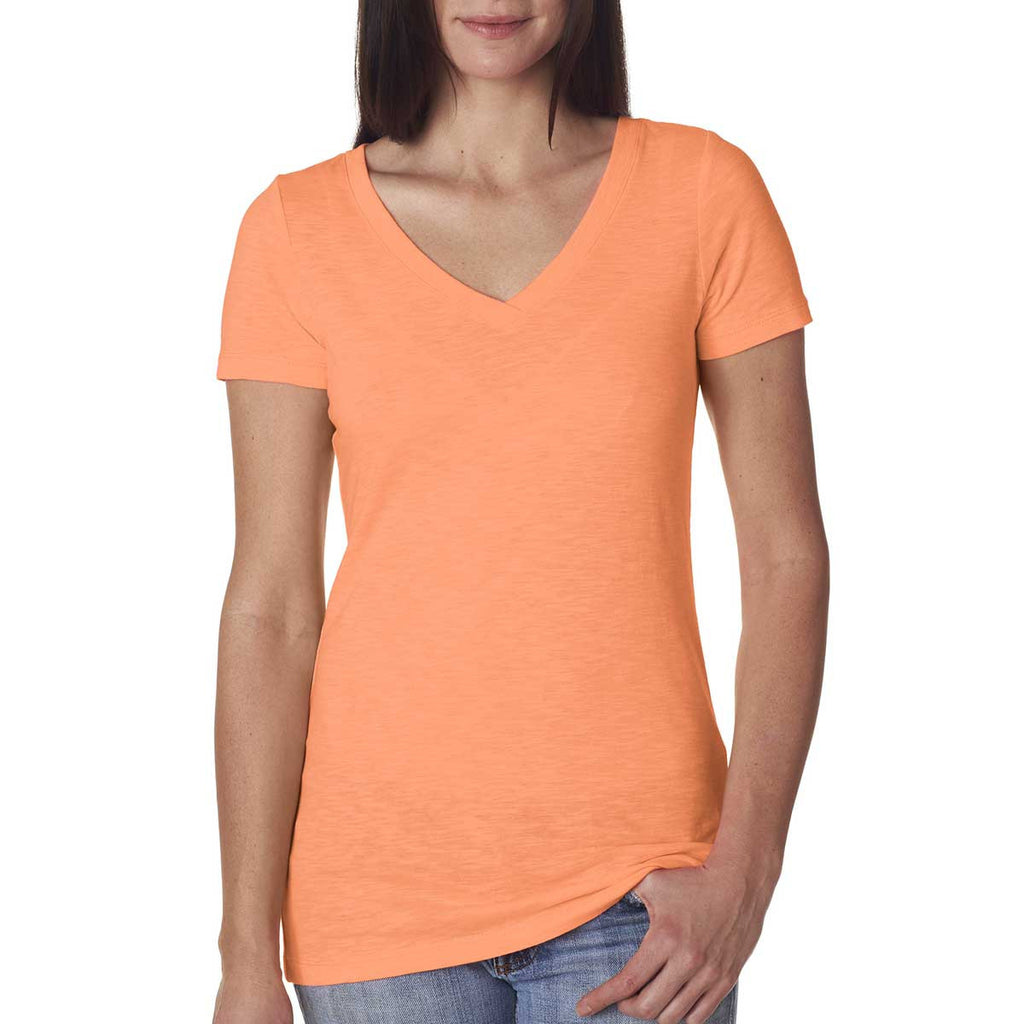 Next Level Women's Neon Heather Orange Slub Crossover V-Neck Tee