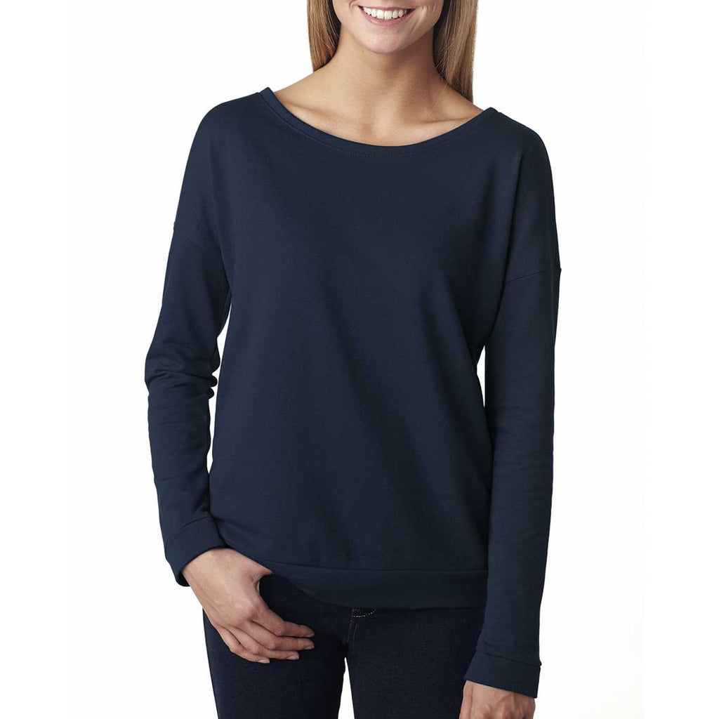 Next Level Women's Midnight Navy Terry Long-Sleeve Scoop Tee