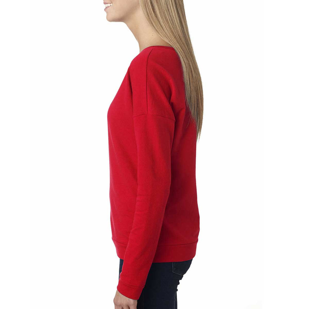 Next Level Women's Red Terry Long-Sleeve Scoop Tee