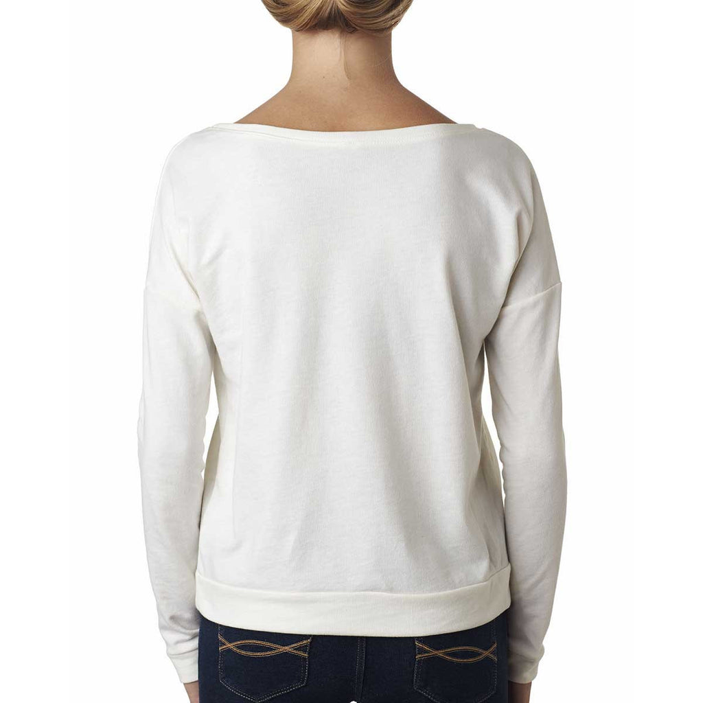Next Level Women's White Terry Long-Sleeve Scoop Tee