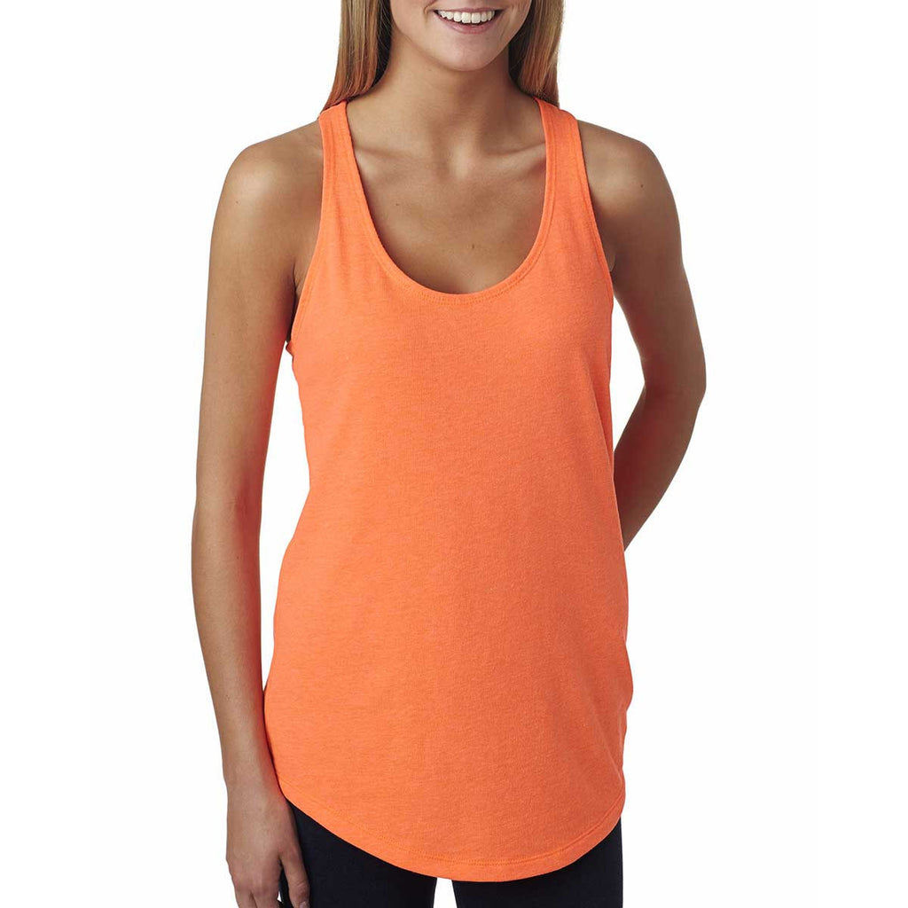 Next Level Women's Neon Heather Orange Terry Racerback Tank