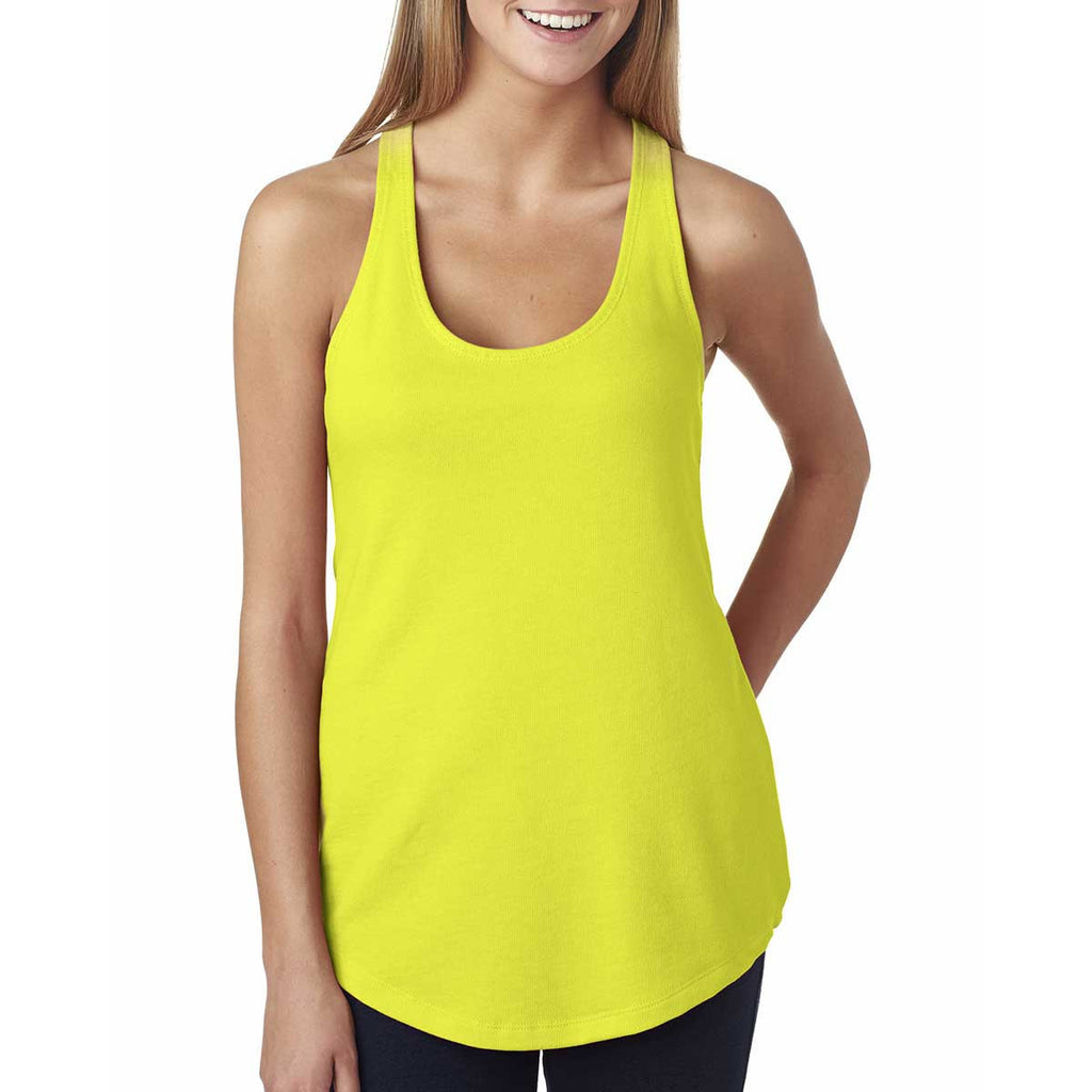 Next Level Women's Neon Yellow Terry Racerback Tank