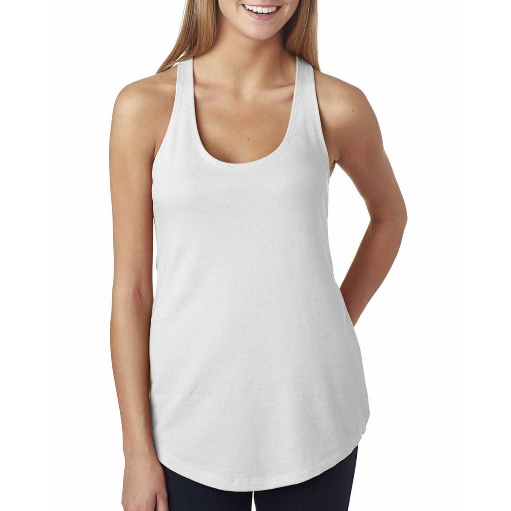 Next Level Women's White Terry Racerback Tank