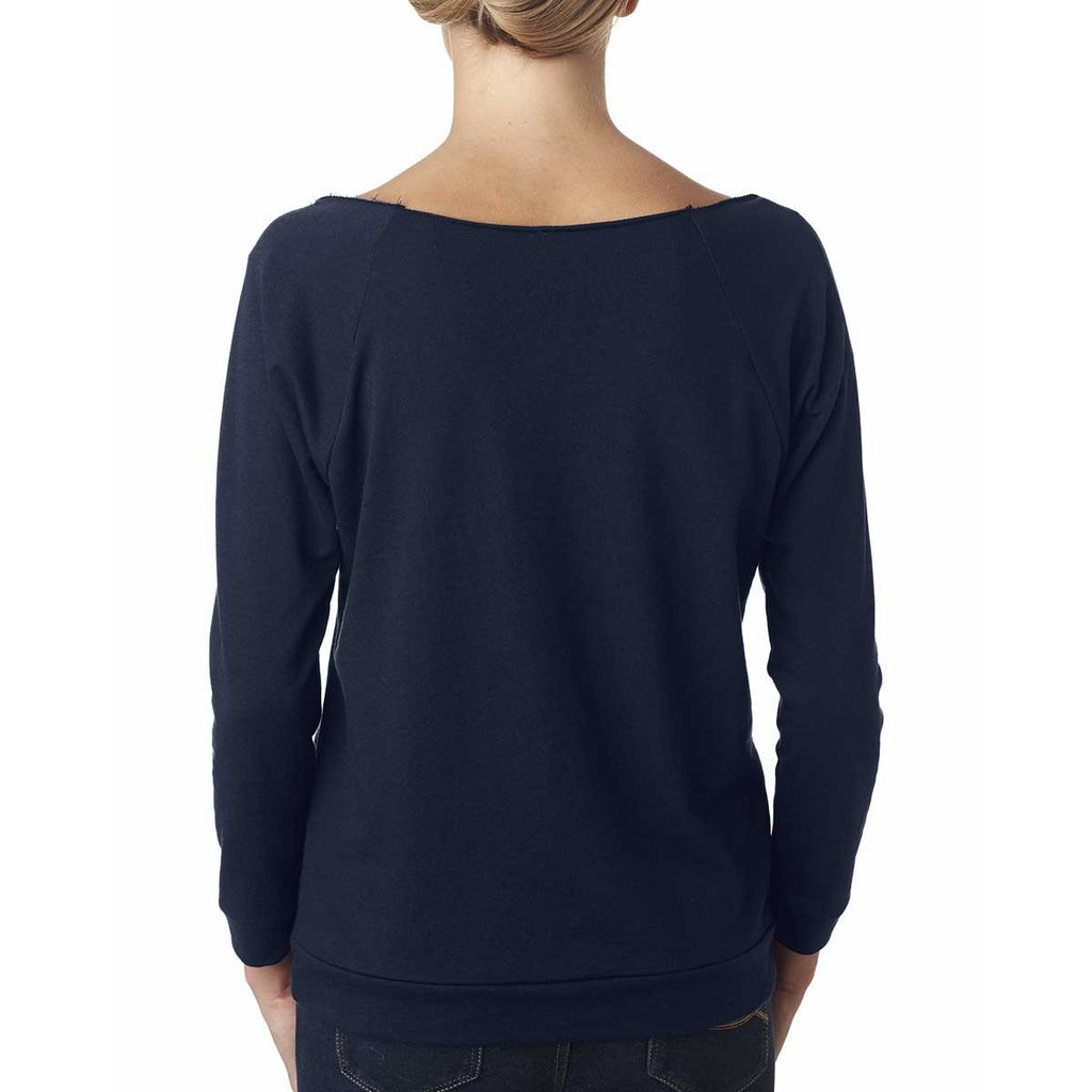 Next Level Women's Midnight Navy Terry Raw-Edge 3/4-Sleeve Raglan Tee