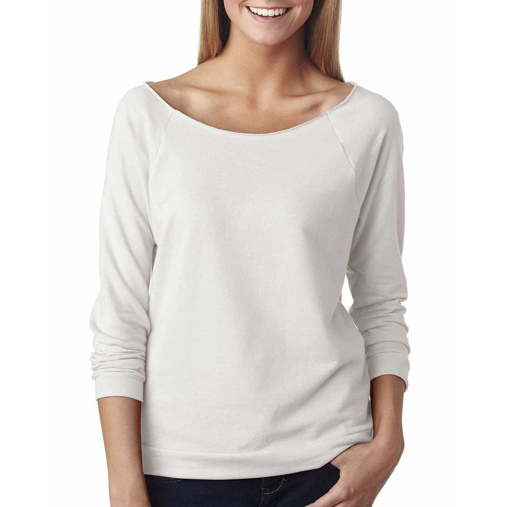 Next Level Women's White Terry Raw-Edge 3/4-Sleeve Raglan Tee