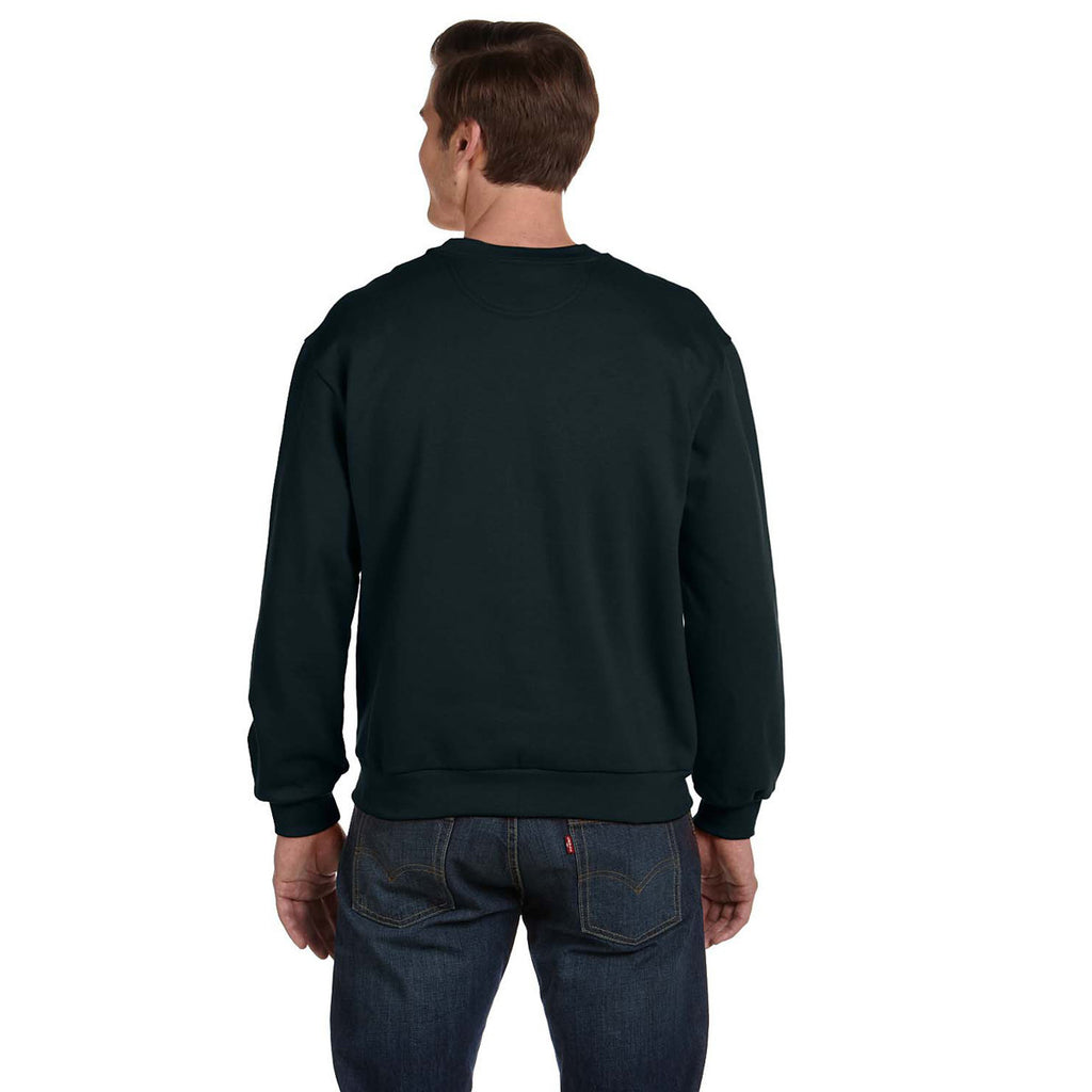 Anvil Men's Black Crewneck Fleece Sweatshirt