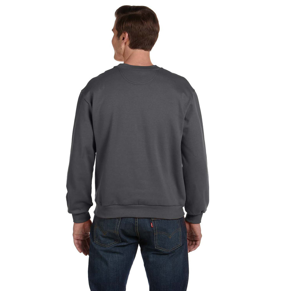 Anvil Men's Charcoal Crewneck Fleece Sweatshirt