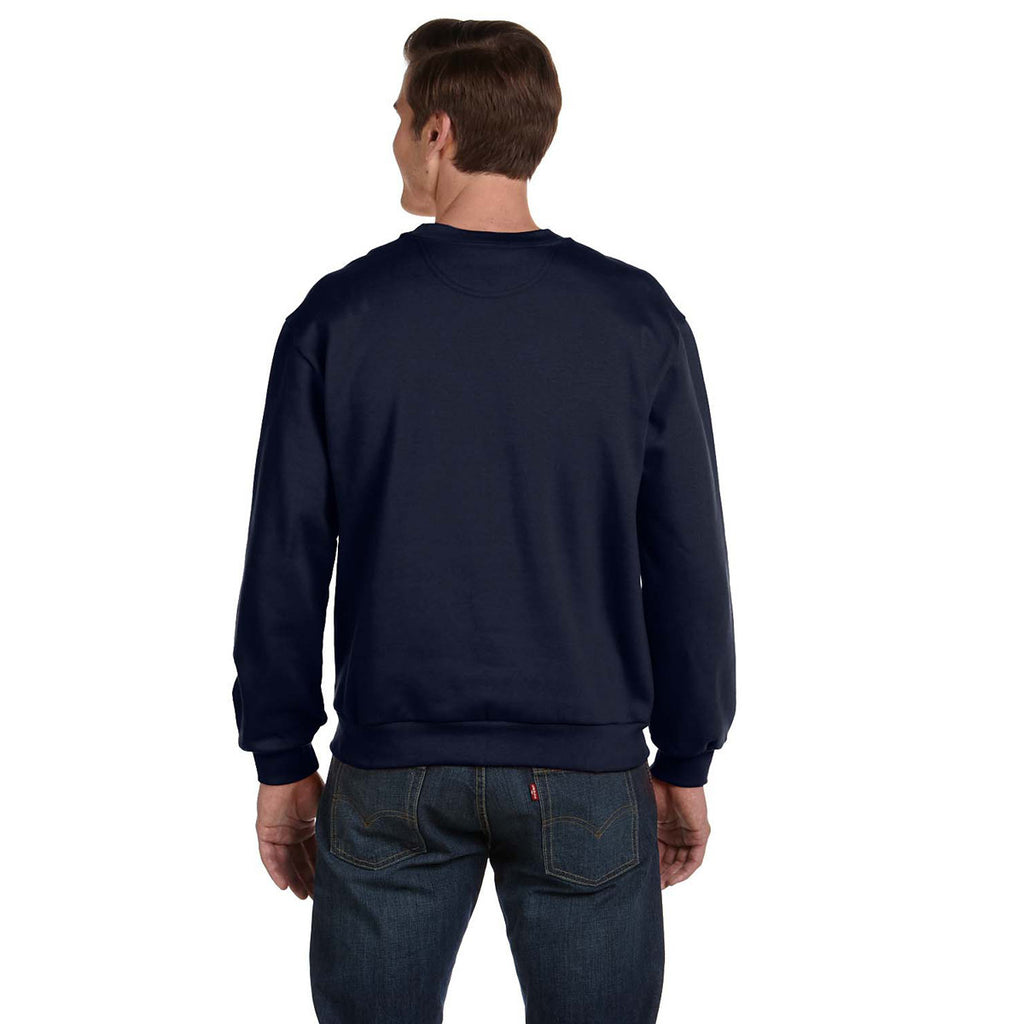 Anvil Men's Navy Crewneck Fleece Sweatshirt