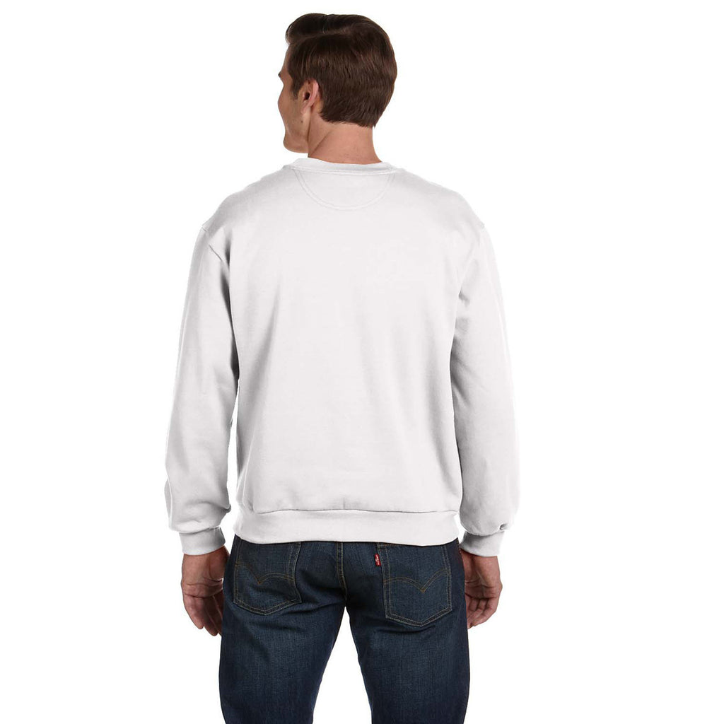 Anvil Men's White Crewneck Fleece Sweatshirt