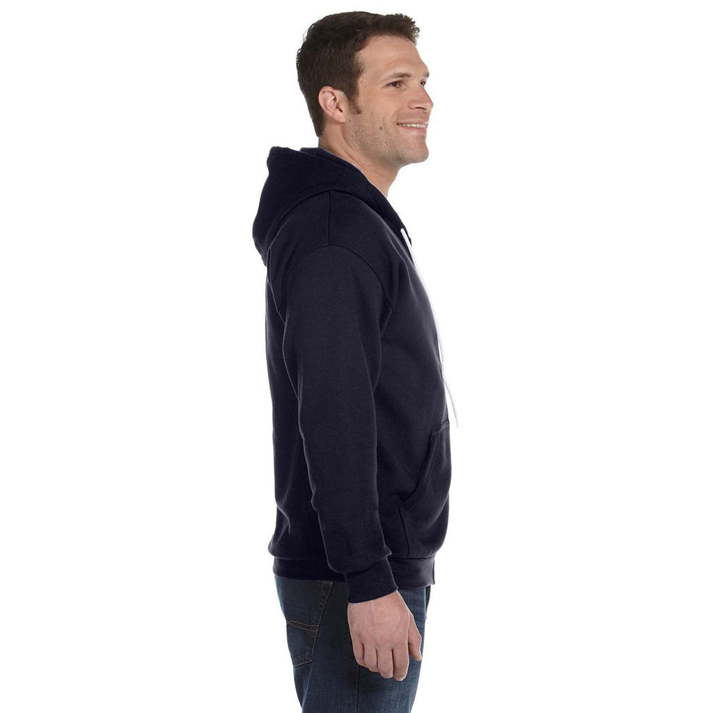Anvil Men's Navy Full-Zip Hooded Fleece