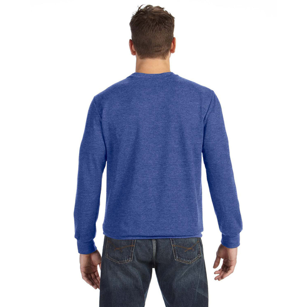 Anvil Men's Heather Blue Crewneck French Terry Sweatshirt