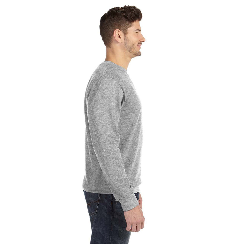 Anvil Men's Heather Grey Crewneck French Terry Sweatshirt
