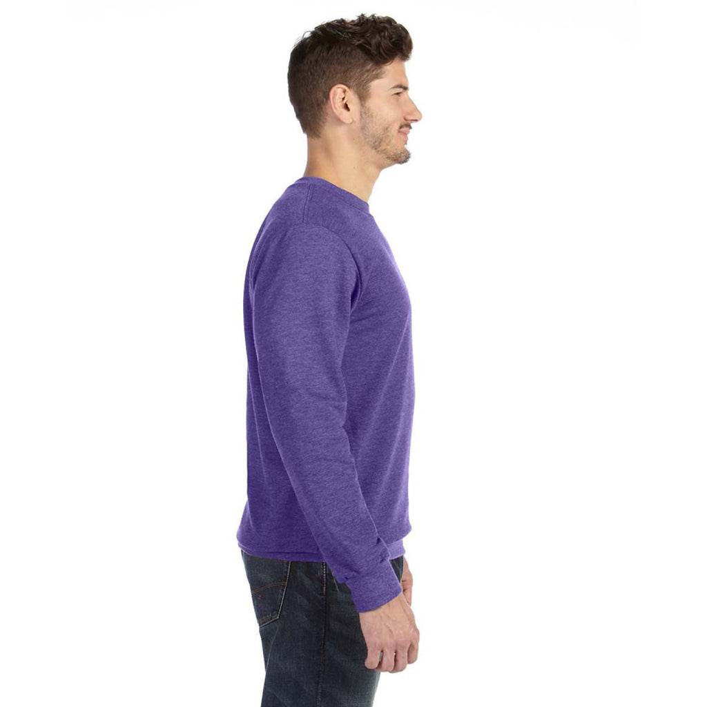 Anvil Men's Heather Purple Crewneck French Terry Sweatshirt