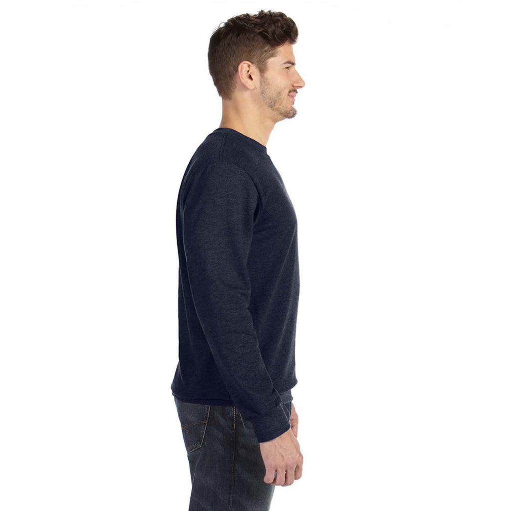 Anvil Men's Navy Crewneck French Terry Sweatshirt