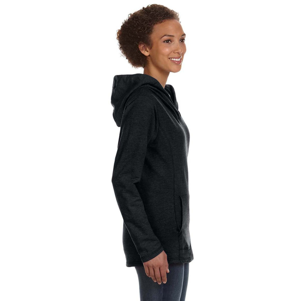 Anvil Women's Black Hooded French Terry Sweatshirt