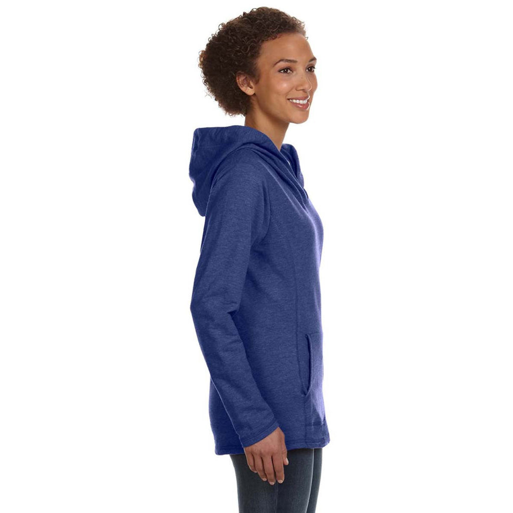 Anvil Women's Heather Blue Hooded French Terry Sweatshirt