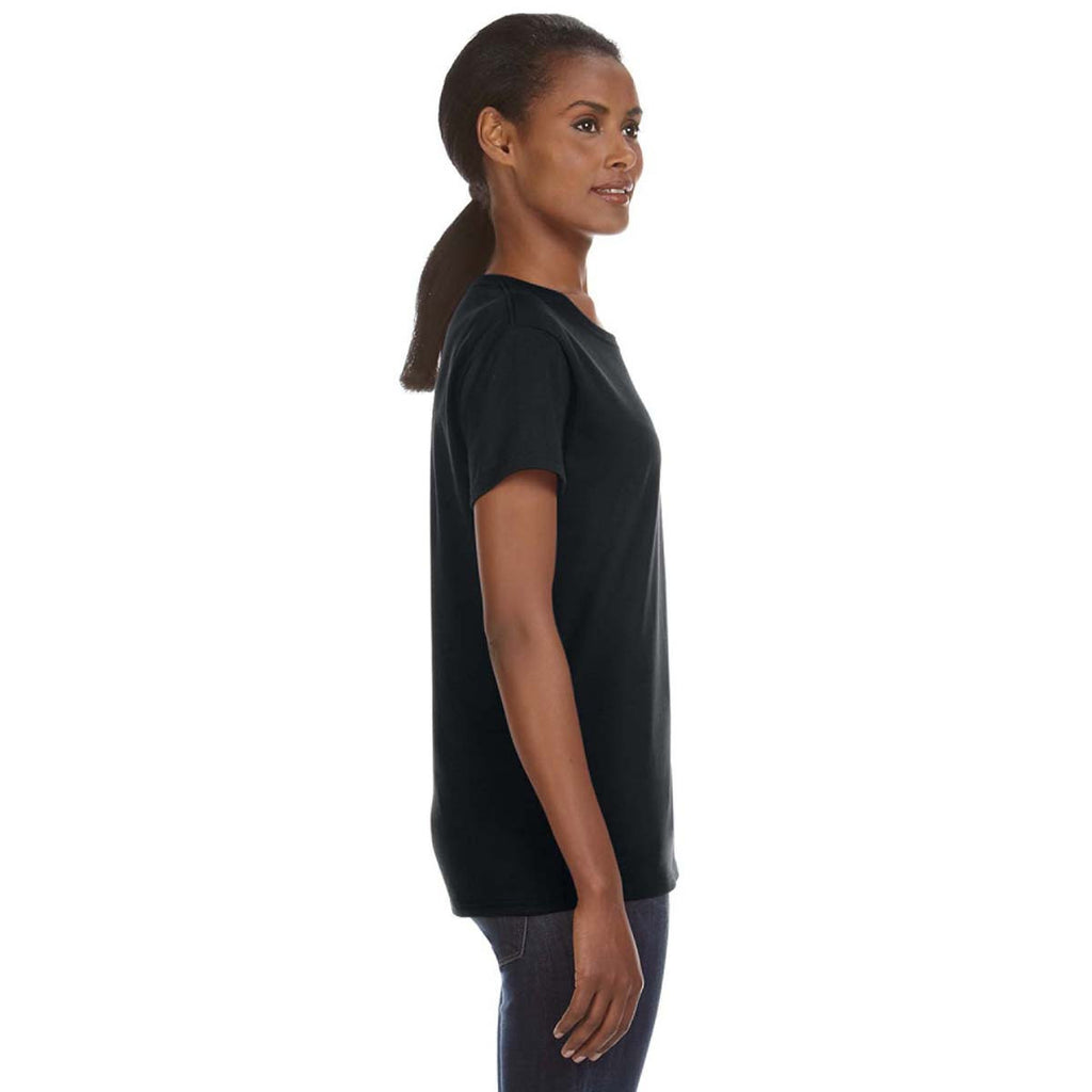 Anvil Women's Black Midweight Mid-Scoop T-Shirt