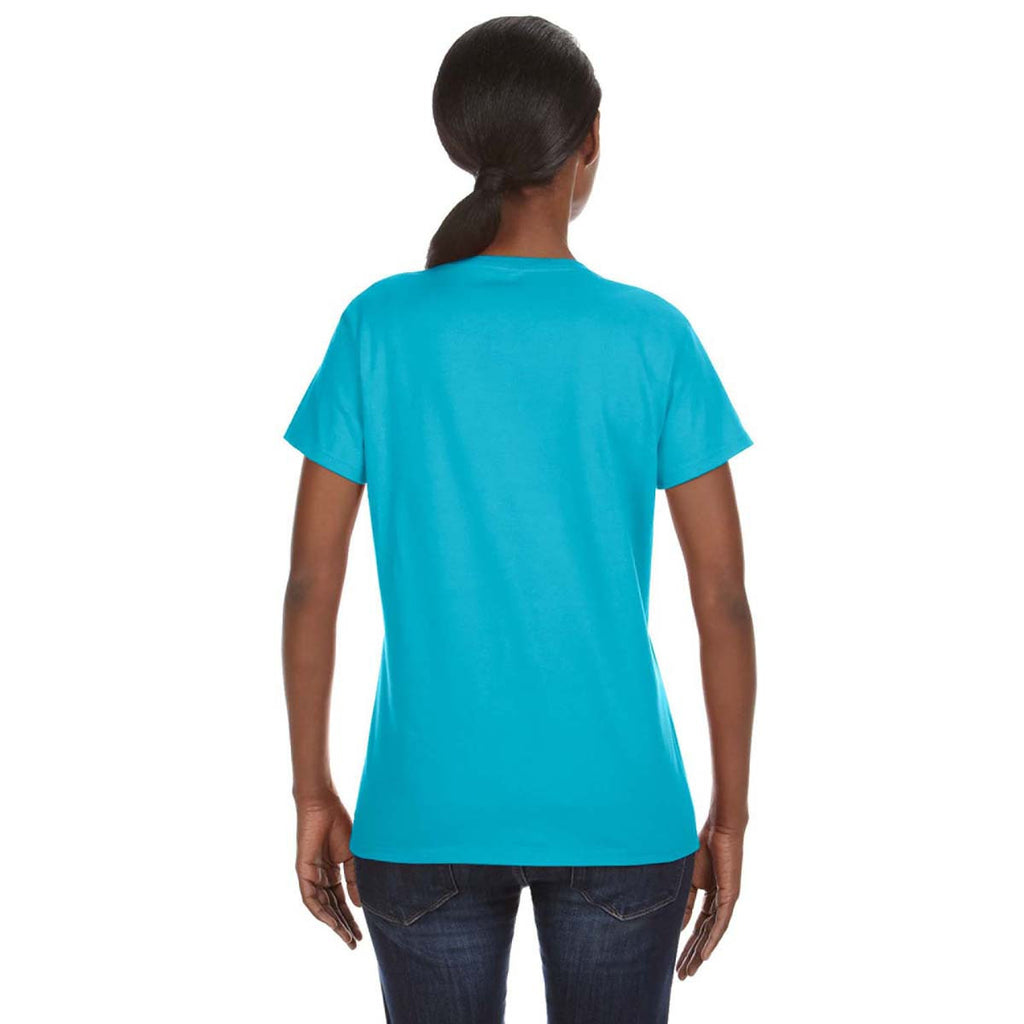 Anvil Women's Pool Blue Midweight Mid-Scoop T-Shirt