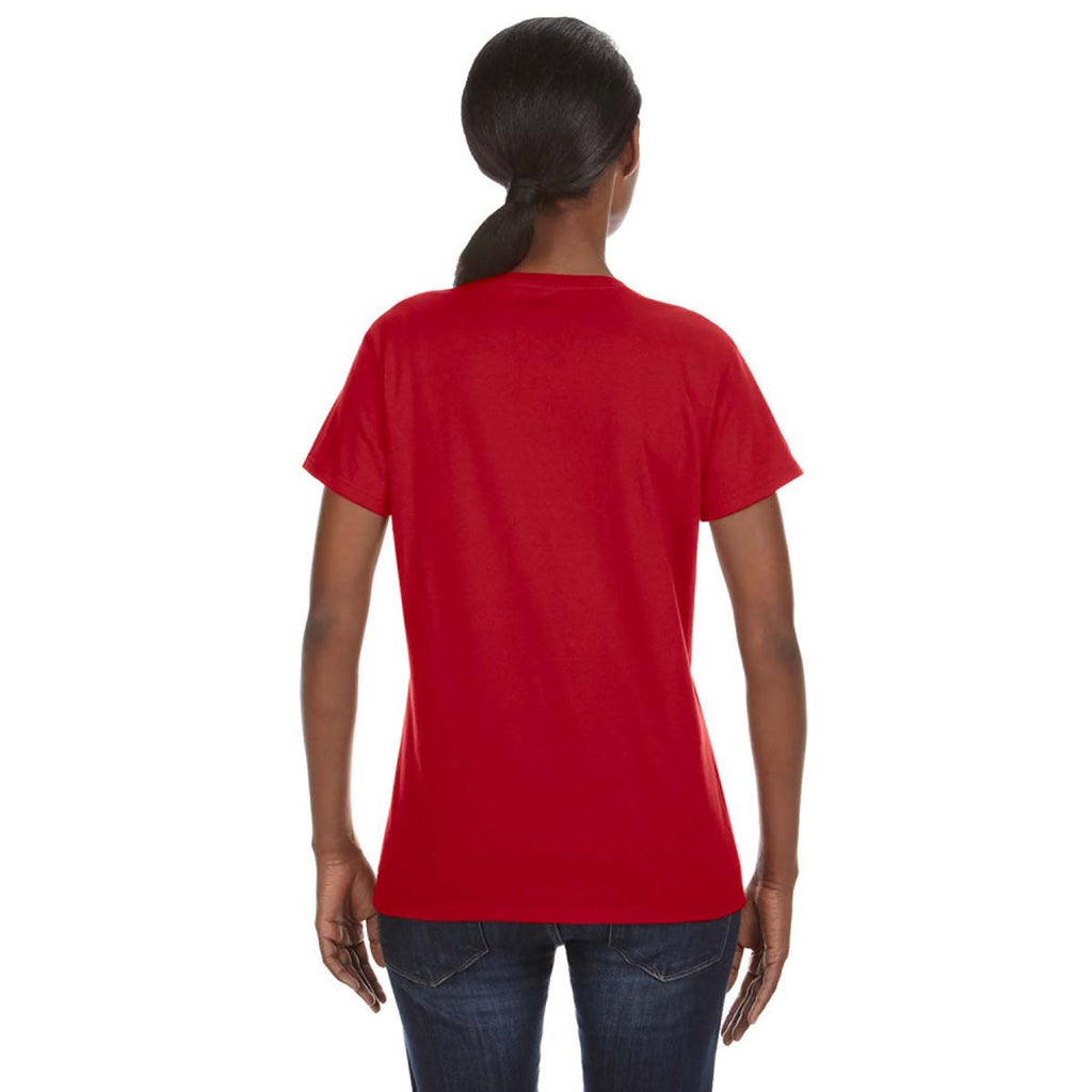 Anvil Women's Red Midweight Mid-Scoop T-Shirt