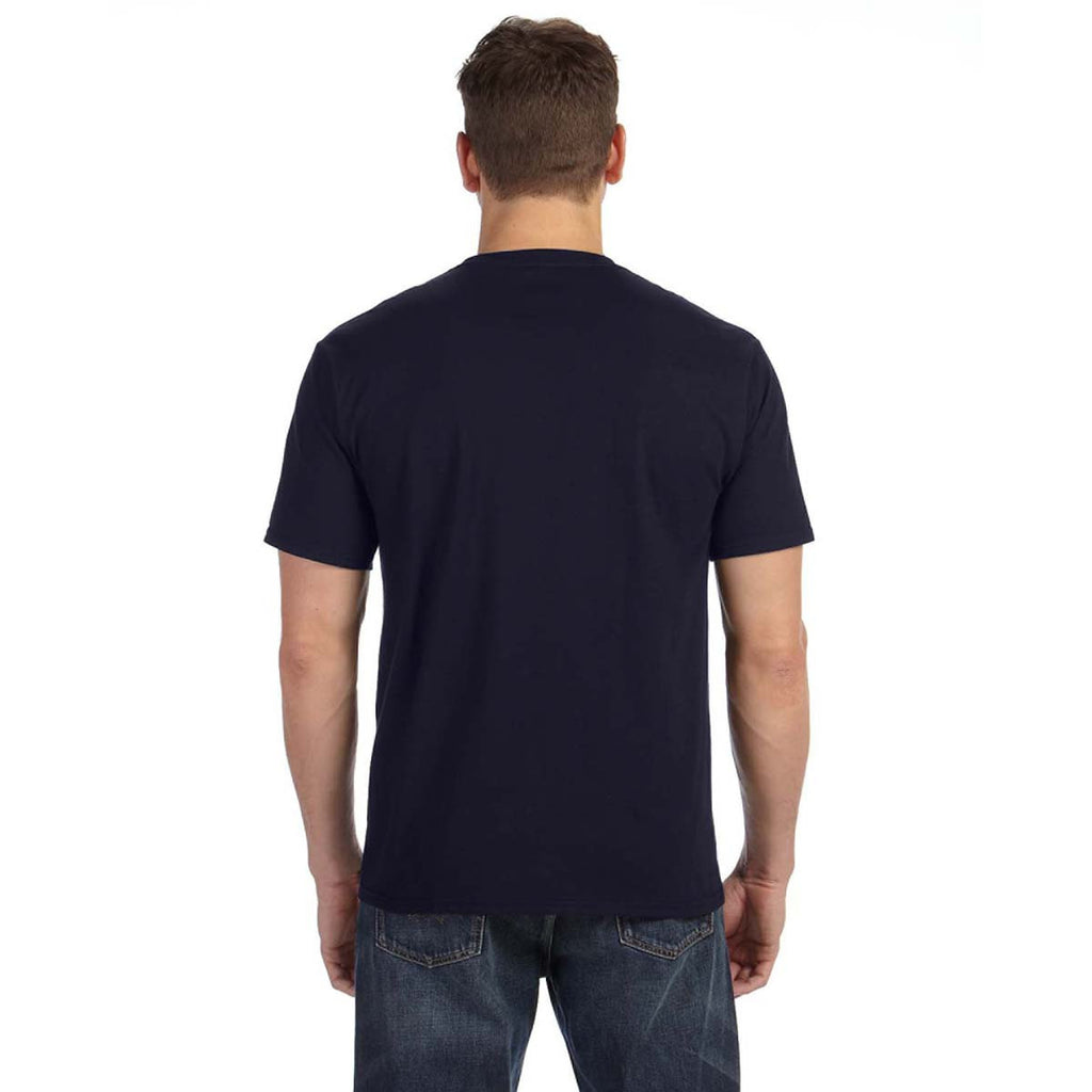 Anvil Men's Navy Midweight Pocket T-Shirt