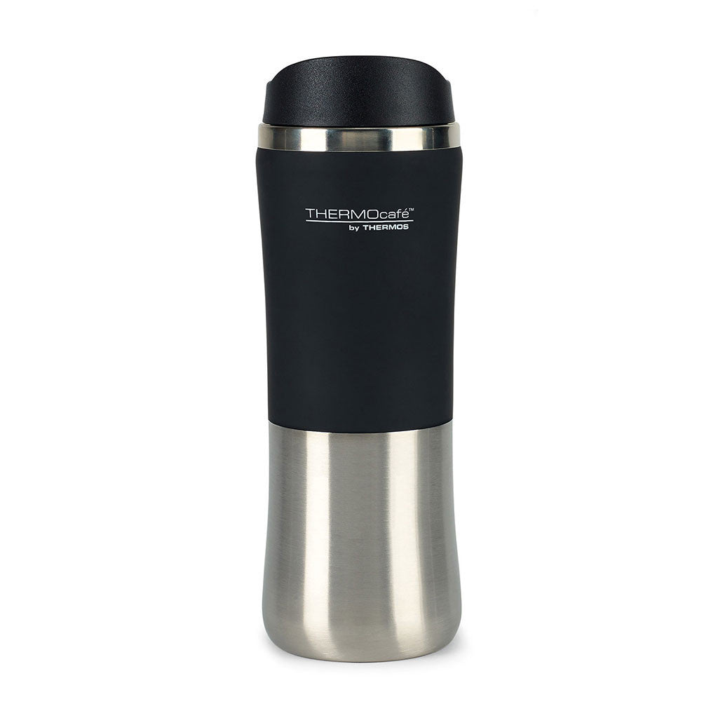 Thermocafe Black Stainless Steel Travel Tumbler-12 oz.