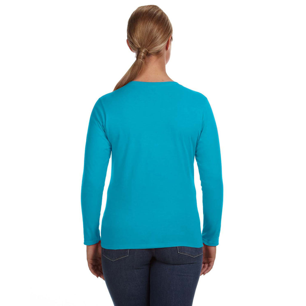 Anvil Women's Caribbean Blue Lightweight Long-Sleeve T-Shirt