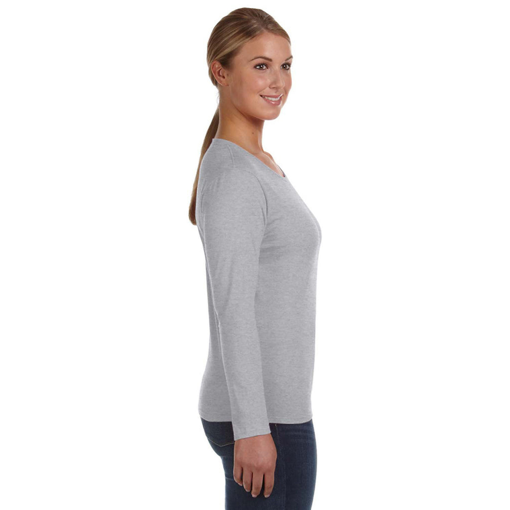 Anvil Women's Heather Grey Lightweight Long-Sleeve T-Shirt