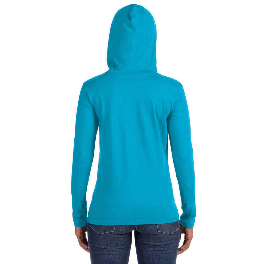 Anvil Women's Caribbean Blue/Dark Grey Long-Sleeve Hooded T-Shirt
