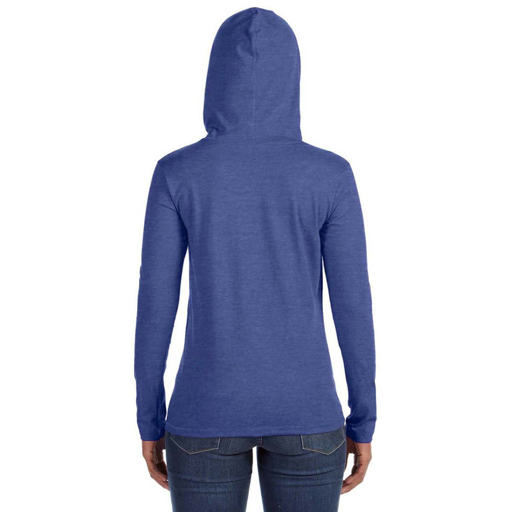 Anvil Women's Heather Blue/Neon Yellow Long-Sleeve Hooded T-Shirt