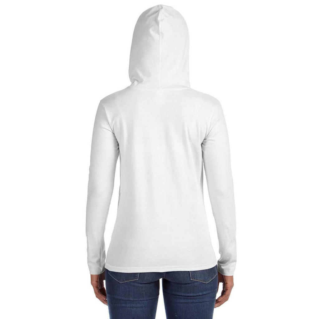 Anvil Women's White/Dark Grey Long-Sleeve Hooded T-Shirt