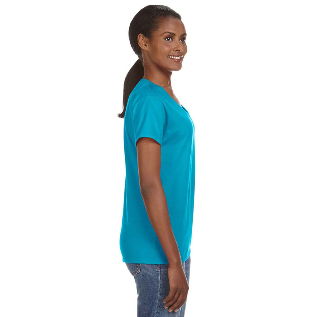 Anvil Women's Caribbean Blue Lightweight V-Neck T-Shirt