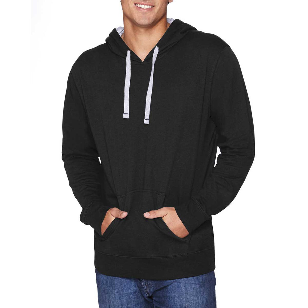 Next Level Unisex Black/Heather Grey French Terry Pullover Hoodie